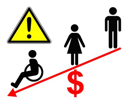 Inequality in the workplace. Men, women and people with disabilities get unequally paid in many companies Banque d'images