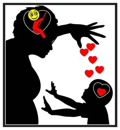 Emotional manipulation of child. Manipulative mother abuses the feelings of her son in order to gain the wanted behavior