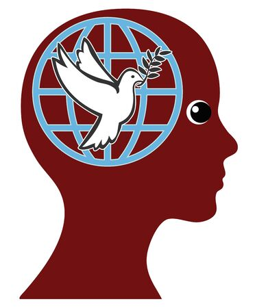 Female Pacifist. The globe and the dove of peace are the symbol of a peaceful world. Banque d'images