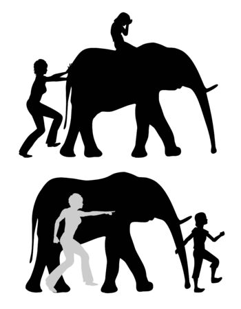 Raising strong or anxious kids. Crying child on elephant with pushing parent and mentally strong teen taking the leadership. Banque d'images