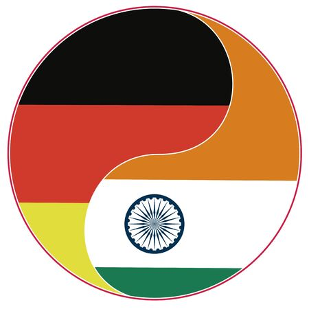 Indian German Partnership. Symbol for close collaboration between Germany and India. Banque d'images