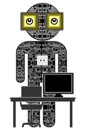 Robots for office work. Artificial intelligence in the workplace replacing humans