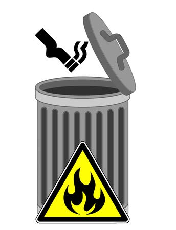 Lit cigarette in trash can. Tossing butts into the garbage bin can cause fire hazard Banque d'images