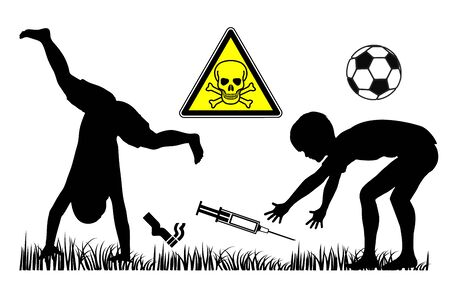 Fatal risks at playgrounds. Attention parents, syringes and cigarette butts on play yards are dangerous for children. Banque d'images