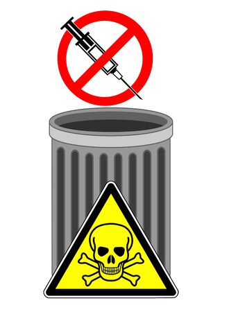 No syringes in the trash. Deadly danger when used needles are thrown into waste bins. Banque d'images