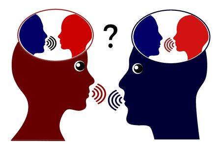 Caring about what others think. Two people listen to their inner voice while they communicate with each other. Banque d'images - 138979517