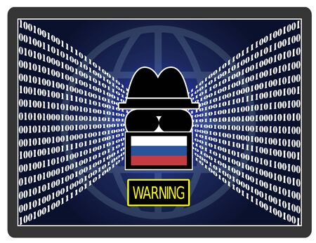 Cyber espionage warning. Russian hacker stealing sensitive data from the internet. Banque d'images - 140105651