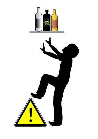 Keep poison away from children. Caution, kid is trying to reach live threatening bottle on the shelf.