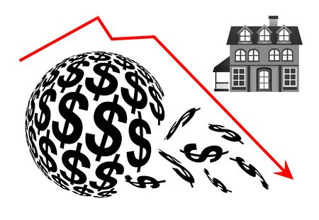 Real estate going to crash. Financial loss when the housing market drops Banque d'images - 141027810