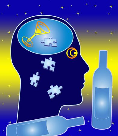 Alcohol related brain damage. The long term effect of excessive drinking Banque d'images