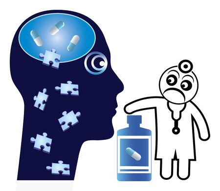 Medicine abuse affects the brain. Mental disorder due to misuse of prescription drugs. Standard-Bild
