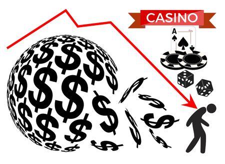 Result of gambling addiction. Distressed gambler getting broke with casino games.