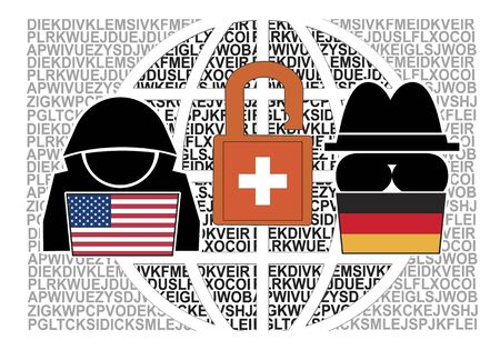 Joint espionage of America and Germany. US and German spies read top secret messages of 120 countries for decades with the help of a Swiss encoding company. Banque d'images - 141905137