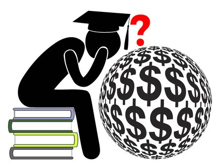 Student loan debts. Baffled graduate with heavy financial liabilities due to college or university tuition Banque d'images - 142815523