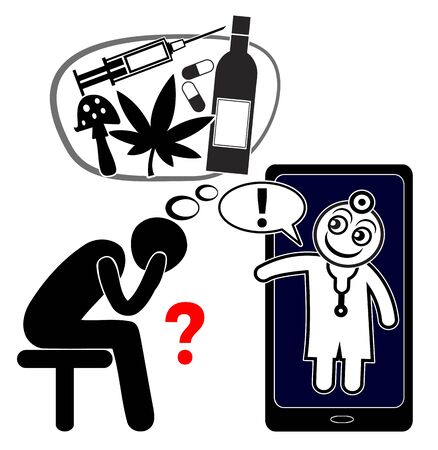 Call for medical help in order to withdraw from drugs like heroin, opioid, magic mushrooms, alcohol or cannabis. Banque d'images - 140536579