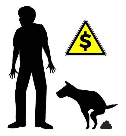 Fines for not cleaning dog poop. Warning sign for dog walkers if they fail to pick up the litter. Banque d'images - 143078975