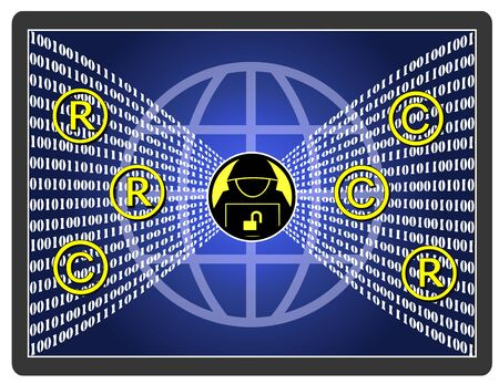 Intellectual property theft. Hacker stealing trade secrets and misuse copyrights from companies and industries.