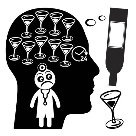 Warning signs of alcoholism. Alcoholic thinking about drinks 24 hours a day. Standard-Bild