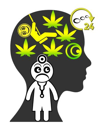 Symptoms of cannabis addiction. Doctor is worried about woman who is thinking about marijuana 24 hours a day.