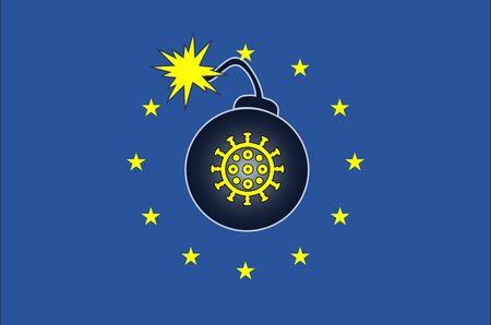 Explosive coronavirus outbreak in Europe. Banque d'images - 143780257