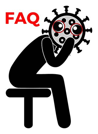 FAQ Coronavirus. Concept illustration for Frequently Asked Questions sign regarding COVID-19 pandemic. Banque d'images - 145072306
