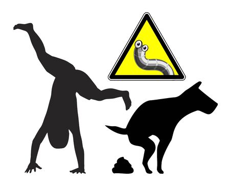 Dangers of dog poop. Health hazard for playing children exposed to animal feces.