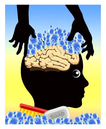 Concept of brainwashing and mind control. Caricature and metaphor of how the thoughts of people can get manipulated