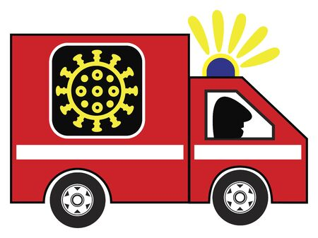 Coronavirus ambulance car. Caricature of emergency vehicle to fight the COVID-19 pandemic Standard-Bild