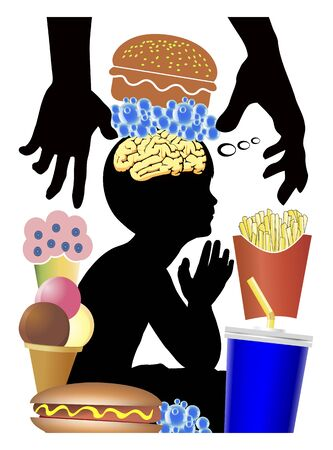 Food industry is brainwashing kids. Eating habits of children get manipulated to crave for junk food like burger, sweets and soft drinks. Banque d'images - 147356527