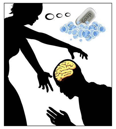 Woman is brainwashing man. Caricature of mind control in abusive relationship between two people. Banque d'images - 148389134