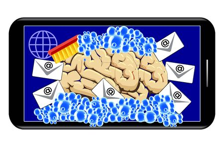 Brainwashing with smartphones. Banque d'images - 148958687