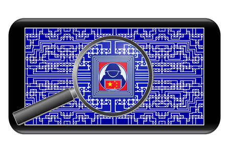 Chinese spy chips in smartphones. China using spyware in cellphones for espionage Standard-Bild