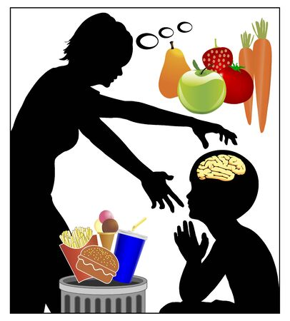 Mother trying mind control in order to switch her child from junk to health food, to fruits and vegetables instead of soft drinks, sweet, hamburger. Standard-Bild