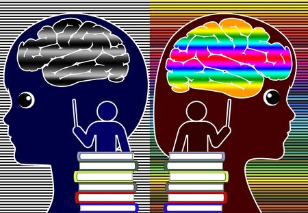 Academic and cognitive differences in the classroom due to different mindsets. Banque d'images - 148551834