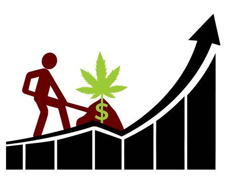 Surging profits for farmer planting cannabis. Banque d'images - 149924994