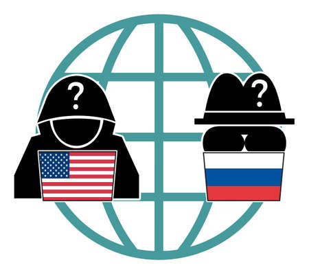 USA and Russia in competition on spying political and economic secrets. Standard-Bild