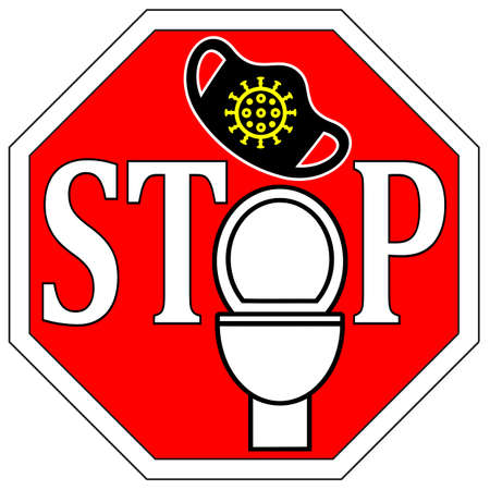 Stop flushing face masks down the toilet. They clog drains, harm water sources and contaminate the environment. Standard-Bild