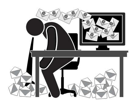 Your emails make you sick. Caricature of sick office worker: health hazard for those who must deal with daily floods of messages. Standard-Bild