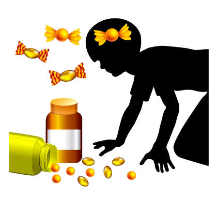 Child mistakes medicine for candy. Kids are getting poised accidentally because sweets and pills are hard to tell apart.