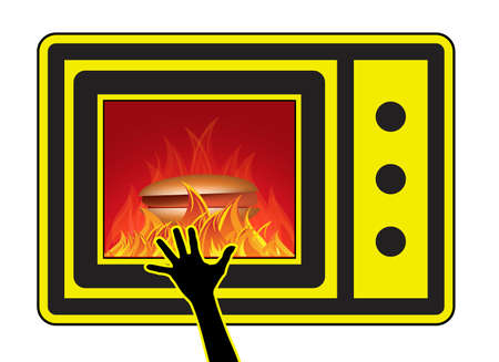 Microwave oven injuries young children. Skin burn caused by accidentally touching the heated food from the oven.