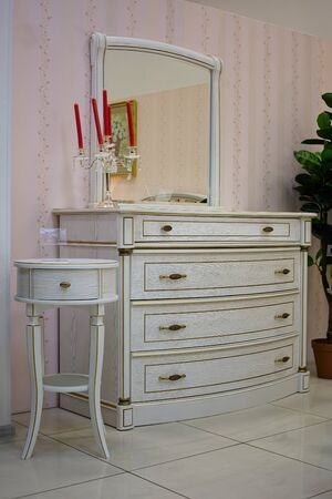 drawers: White chest of drawers. Stock Photo