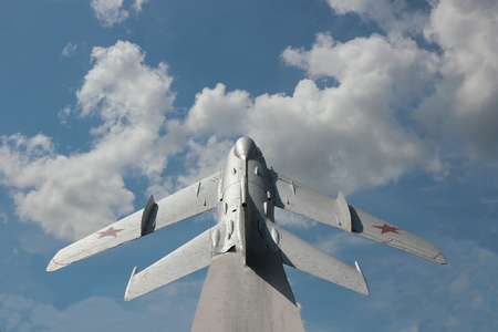 aluminum airplane: The monument to military pilots as the plane on a concrete base.