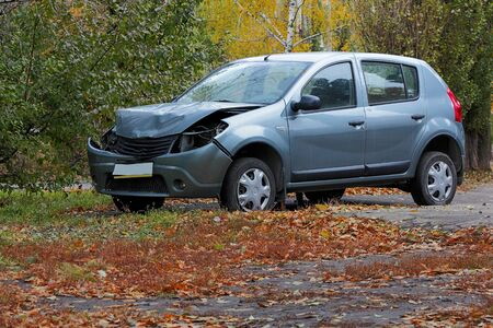 total loss: For transport a result of road accidents - a broken back and side parts. Stock Photo