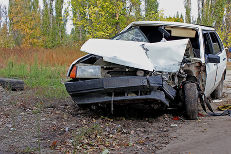 broken back: For transport a result of road accidents - a broken back and side parts. Stock Photo