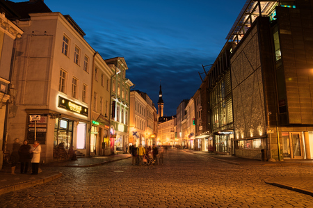 In the evening, the streets are empty of the old European cityilluminated lanterns Editorial