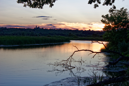 Sunset over the River in July.