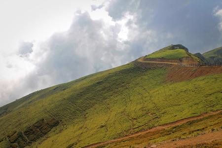 Steep slope on the mountain of the Northern Caucasus
