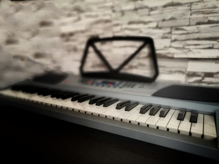 Fragment of a musical power tool captured photo camera Фото со стока