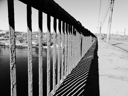 Fragment of a fence of a bridge.