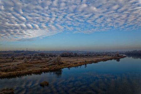The first frosts fell on the grass and stale leaves of trees in the floodplain of the Voronezh River. Russia Reklamní fotografie